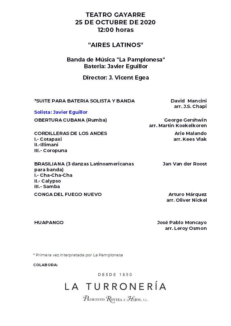 programa CONCIERTO 25 OCTUBRE