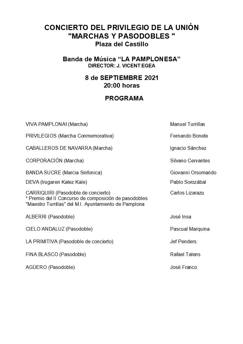 CONCIERTO PRIVILEGIO DE LA UNION 8 Septiembre 2021